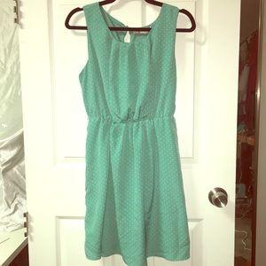Blue polka dot fit & flare dress